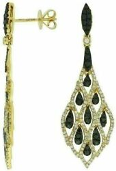 Estate 1.75ct White And Black Diamond 14kt Yellow Gold Chandelier Hanging Earrings