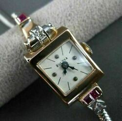 Antique .58ct Old Mine Diamond Aaa Ruby 14k White And Rose Gold Blova Watch 22618