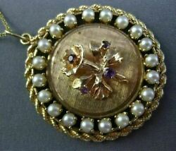 Antique .36ct Amethyst And South Sea Pearl 14kt White Gold 3d Flower Pendant 25604