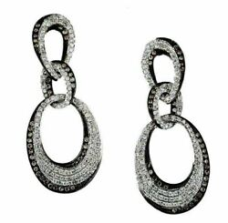 Estate 1.55ct White And Chocolate Fancy Diamond 14k White Gold 3d Hanging Earrings