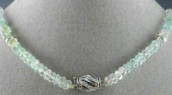 Estate 101.54ct Diamond And Aaa Aquamarine 18k White Gold By The Yard Necklace