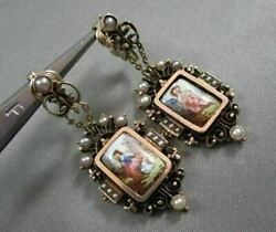 Antique Hanging Victorian Enamel Pearls 14kt Yellow Gold Earrings One Of A Kind
