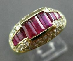 Antique Wide 2.3ct Diamond And Ruby 18k Yellow Gold Past Present Future Ring 22031