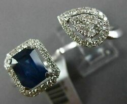 Large 2.50ct Diamond And Aaa Sapphire 14k White Gold 3d Cluster Double Finger Ring