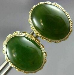 Antique Large And Aaa Jade 14kt Yellow Gold 3d Oval Filigree Stud Earrings 26105