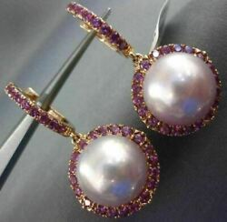 Large 1.60ct Aaa Amethyst And Pink South Sea Pearl 18kt Rose Gold Hanging Earrings