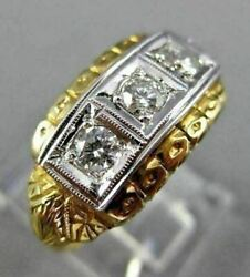 Antique .45ct Diamond 14kt White And Yellow Gold 3 Stone Filigree Love Ring 2114
