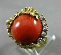 Antique Large .20ct Diamond And Aaa Coral 14k 2 Tone Gold Round Flower Ring 21861