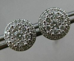 Estate Large .77ct Round Diamond 18kt White Gold 3d Cluster Halo Stud Earrings