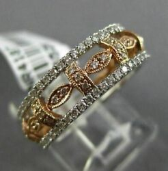 Estate Wide .81ct Diamond 14k White And Rose Gold Eternity Wedding Anniversay Ring