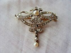 Edwardian Platinum Over Yellow Gold Brooch With Natural Pearls And Diamonds