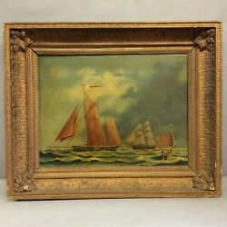 English Nautical Oil Painting By J.thompson View 23x17.25