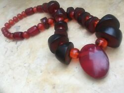 Antique Rare Genuine Bakelite Cherry Amber Marbled Bead Necklace Faturan 152 gr