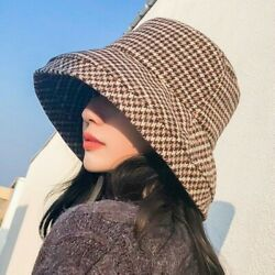 Mens Womens Bucket Hat Cap Plaid Check Houndstooth Casual Fishing Outdoor Travel