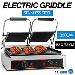 3600W Electric Twin Contact Grill Griddle Commercial Toaster Non-stick Grooved