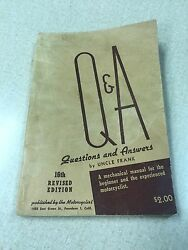Q And A By Uncle Frank 16 Revised Edition Harley Davidson Indian Repair Manual