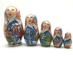 Russian Fairy Tale Snow Maiden Nesting Doll Hand Carved Hand Painted Signed