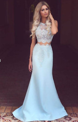 New Size 8 Baby Blue Lace Bridesmaid/party Dress