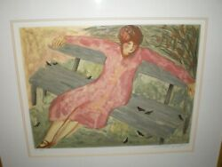 Rare Barbara A Wood Artist Proof 31/50 Friends Girl Sitting In Park With Birds