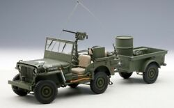 74016 Autoart 118 Jeep Willis Army Green Trailer Accessory Included
