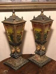Bradley And Hubbard First Nations Reverse Painted Panel Glass Table Lamps.