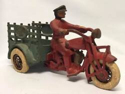 Antique Hubley Cast Iron Indian Motorcycle Traffic Car