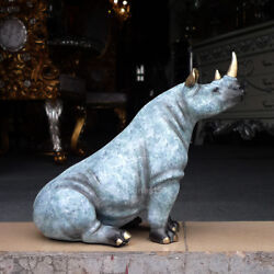 West Palace Art Deco Sculpture Bronze Painted African Rhinos Animal Statue