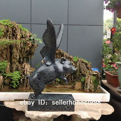 Home Feng Shui Art Deco Sculpture Painted Bronze Marble Pig With Wings Statue