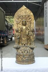 Huge Tibet Buddhism Child Boys And Girls Guanyin Bodhisattva Bronze Gilt Statue