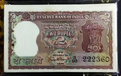 Uncirculated 2 Rupees Diamond Issue Note Signed Gov. P C Bhattacharya B-7 1967