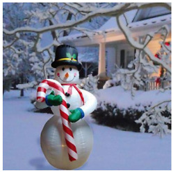 Christmas 8and039 Air Inflatable Lighted Snowman With Candy Cane Yard Decor