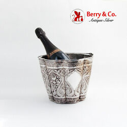 Vintage Ornate Repousse Ice Bucket Sterling Silver Thailand 1950