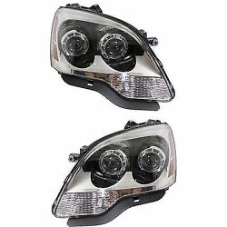 Headlight Set For 2008-2012 GMC Acadia Driver and Passenger Side w bulb