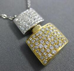 Estate Large .88ct Diamond 18kt White And Yellow Gold 3d Double Square Fun Pendant