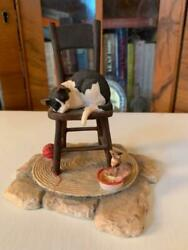 Lowell Davis Schmid Scotland Cat In Rocking Chair Figurine And Mice 1983 Vintage