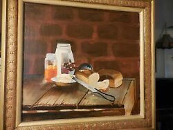 Painting On Panel Of Still Life Of Bread And Jelly Jar On Table By Huckaby 1979