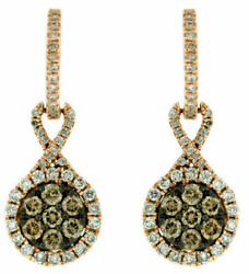 1.27ct White And Chocolate Fancy Diamond 14kt Rose Gold 3d Flower Hanging Earrings