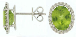 5.75ct Diamond And Aaa Peridot 14kt White Gold 3d Oval Halo Classic Stud Earrings