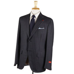 Nwt 3995 Isaia Gray Check 'extra Light Flannel' Wool-silk Suit 46 R Eu 56