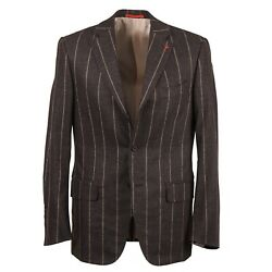 Isaia Chocolate Brown Stripe Soft Brushed Flannel Wool Suit 40r Eu 50 Nwt
