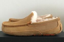 Ugg Mens Ascot Slippers Wool Hard Bottom Moccasin Shoes Chestnut Marble Size 10