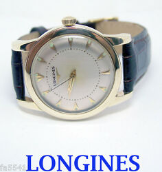 Solid/heavy 14k Longines Automatic Watch 1960s Cal.19as Ref 3576 Exlnt Serviced