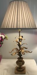 Hollywood Regency Italian Tole Table Lamp With Antique Gold Metal Leaves
