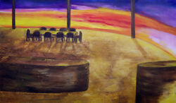 Original Martine Letoile Oil Painting Large Canvas Texture Sunset Room View