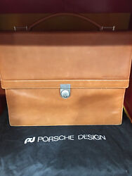Porsche Design Light Brown Leather Briefcase Purchased 1994 Made In Germany