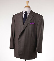 New $4495 OXXFORD HIGHEST QUALITY Brown Glen Check Wool Suit US 52 S Custom