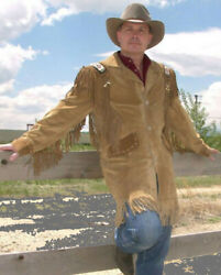 Western Wear Men's American Cowboy Style Suede Leather Jacket Fringes And Beads