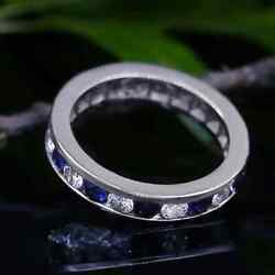 Fantastic Channel Set Blue Sapphires And Band 1.25ct Of Total Diamond Weight