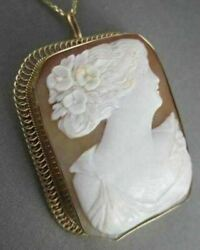 Antique 14kt Yellow Gold Hand Carved Lady Shell Cameo Pendant Pin And Brooch 1328