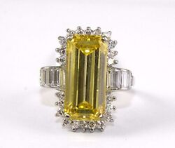 9.90Ct VVS1 Yellow Emerald Cut Diamond Long Solitaire Lady's Ring 18k White Gold